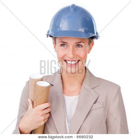 Close-up Of A Female Architect Wearing A Hardhat