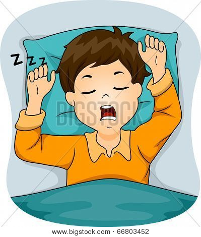 Illustration of a Boy Snoring While Sleeping