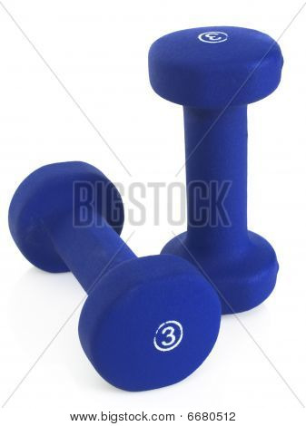 Blue dumbbells