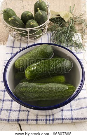Pickled Gherkins With Saltwater In A Bowl