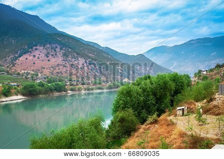 The Beautiful Nature With Mountain And River