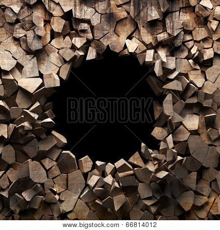 Broken wall with black deep hole