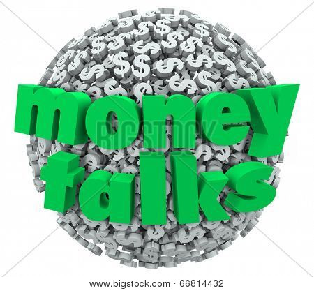 Money Talks words in 3d letters on a ball or sphere of dollar sign symbols