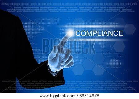 Business Hand Clicking Compliance Button On Touch Screen