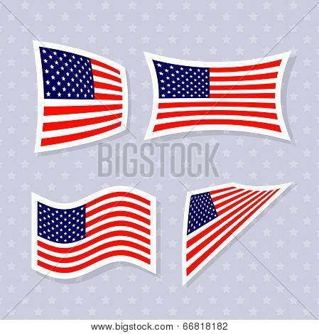 Set of stylish american flags.