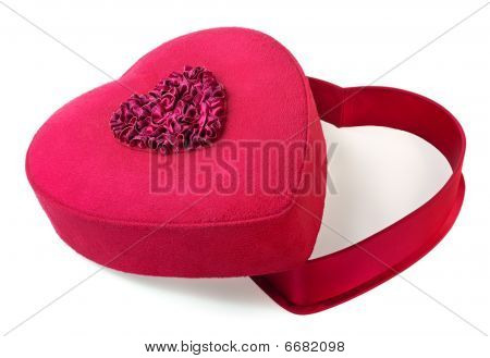 Red Heart-shaped Gift Box Isolated On White Background