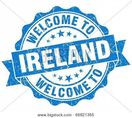 Welcome To Ireland Blue Grungy Vintage Isolated Seal