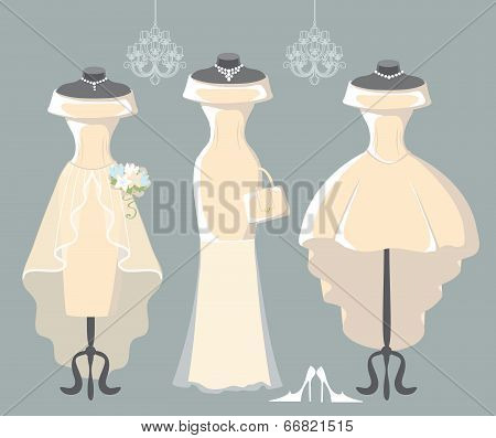 Set Of Three Wedding Dresses
