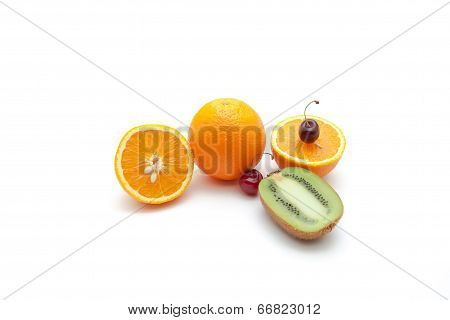 Tropical fruits and cherry