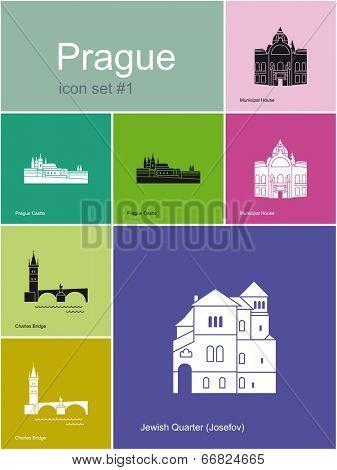 Landmarks of Prague. Set of flat color icons in Metro style. Raster image.
