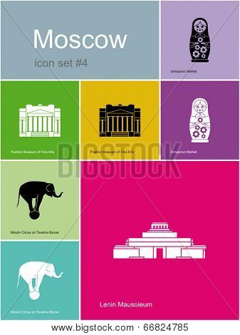 Landmarks of Moscow. Set of flat color icons in Metro style. Raster image.