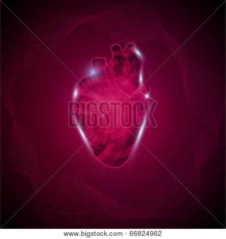 Human Heart And Wave. Cardiology Research Concept, Heart Of Gears