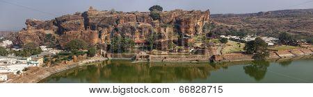 Panoramic photo from rock carved temples, artifial lake and city at Badami, Karnataka, India