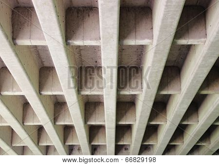 Concrete Construction For Highway Bridge From Beneath