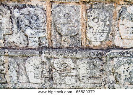 Wall of Skulls maya site of Chichen Itza, Yucatan, Mexico