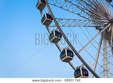 Big cable-car with a blue sky background.