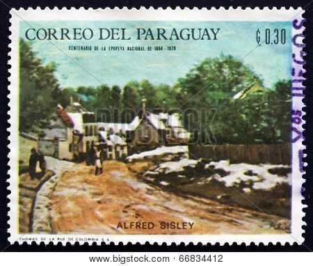 Postage Stamp Paraguay 1968 Winter Scene, By Alfred Sisley