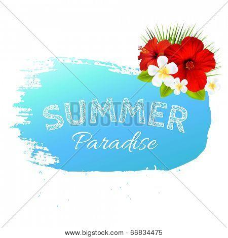 Summer Banner Blot For Design, With Gradient Mesh, Vector Illustration