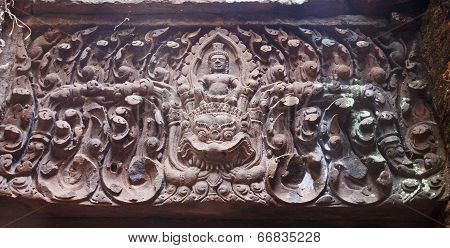 Bas-reliefs On The Walls Of The Temple Of Wat Phu