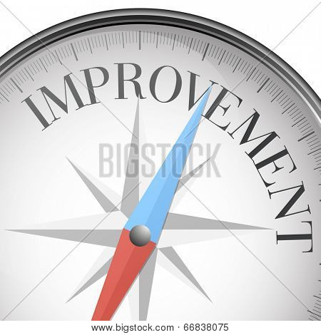 detailed illustration of a compass with improvement text, eps10 vector
