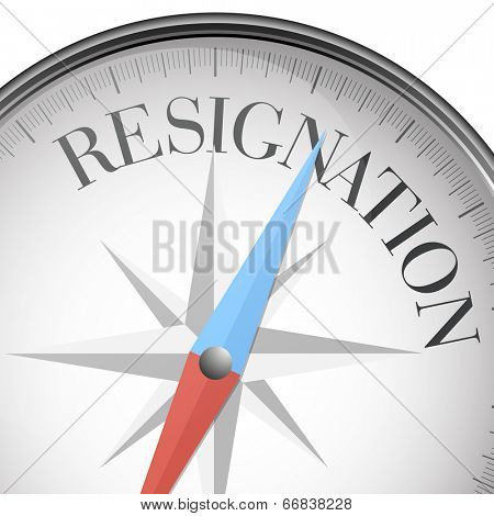 detailed illustration of a compass with resignation text, eps10 vector