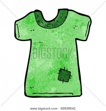 cartoon patched old tee shirt