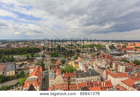 Aerial Panorama Of Wroclaw, Poland In The Direction Of The Odra Rive