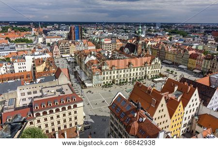 Aerial View Of Old Town In Wroclaw, Poland