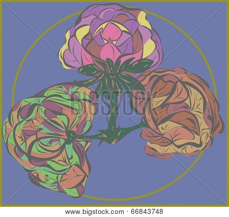 Three Vector Flower On Purple Background
