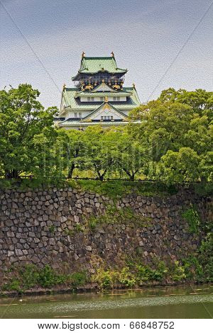 The Main Keep Of Osaka Castle In Osaka, Japan, Oil Paint Stylization
