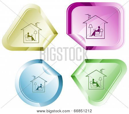 Home reading. Vector sticker.