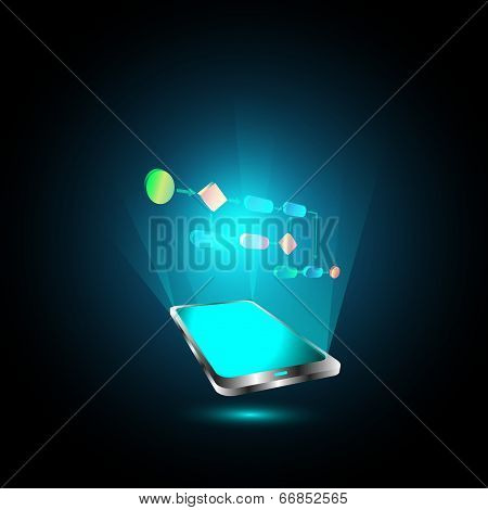 Vector Illustration of Mobile technology trends and virtual business process
