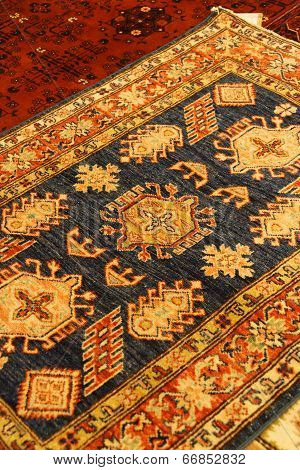 Details Of Intricate Blue Patterns In Turkish Carpets