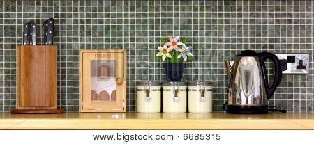 Kitchen Worktop With Kitchen Items