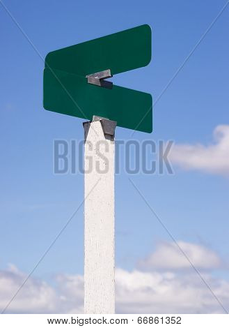 Blank Signs Crossroads Street Avenue Sign Blue Skies Clouds