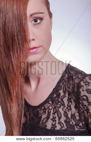 Beautiful Girl Portrait Showing Half Her Face