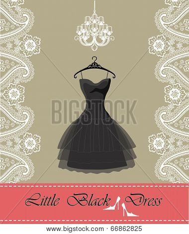 Little Black Dress With Chandelier,ribbon, Paisley Border