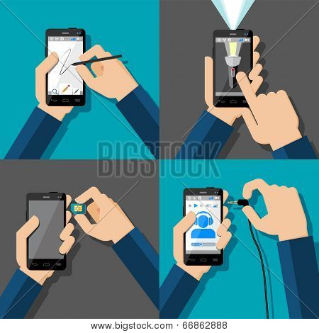 Hands holding touchscreen smartphones. Drawing, flash light, music, sim card. Vector illustration.