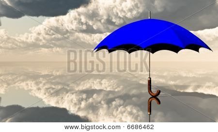 Big Blue Umbrella and Clouds