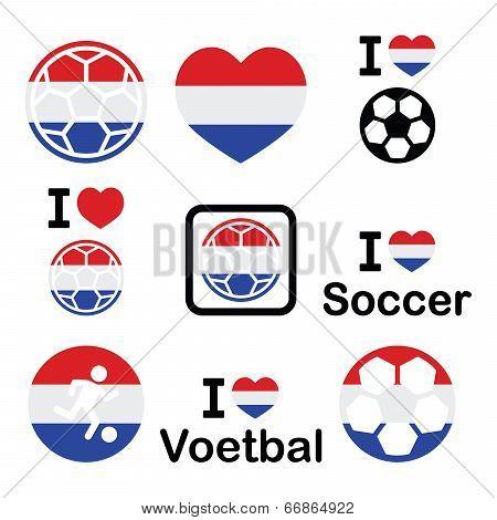 I love Dutch football, soccer icons set