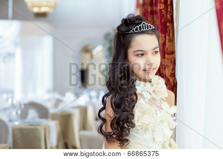 Enigmatically smiling brunette looking out window