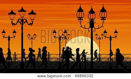 Vector Illustration Of Sunset Seafront Street With People.