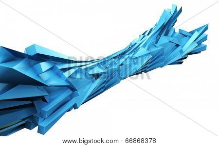 Abstract dynamic block design element isolated 3d illustration