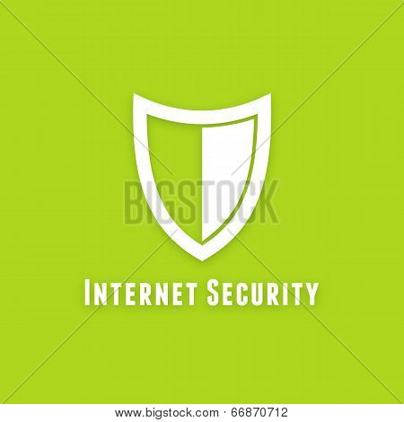 Internet security flat vector icon on green background
