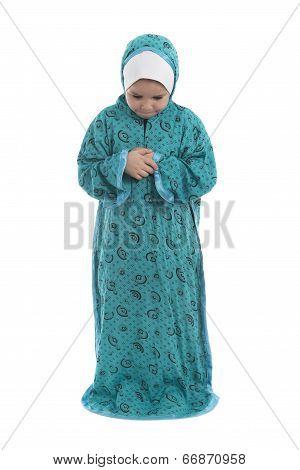 Little Young Muslim Girl Praying
