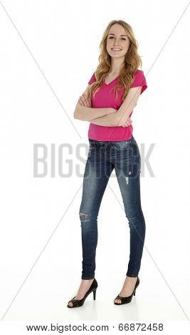 Full length photo of tall, pretty teenage girl standing on white background.