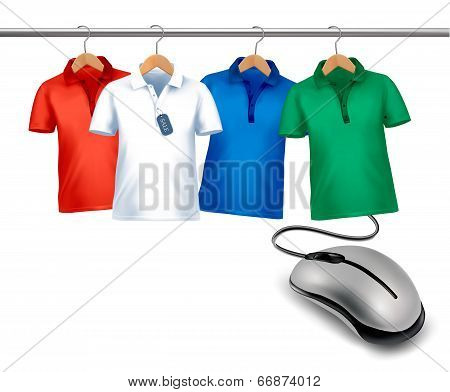 Different Hangers With Shirts And A Computer Mouse. Concept Of E-shopping And Sale. Vector.