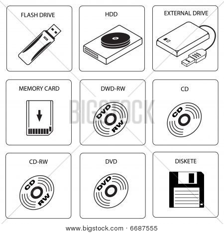Storage media icons