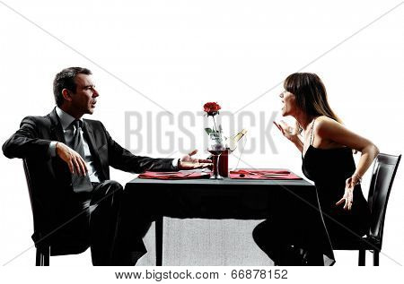 couples lovers dinning dispute arguing in silhouettes on white background