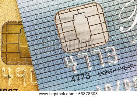 close up of a credit card number and chip